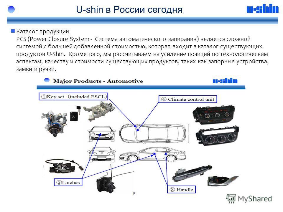 U-shin в России сегодня Каталог продукции PCS (Power Closure System - Система автоматического запирания) является сложной системой с большей добавленной стоимостью, которая входит в каталог существующих продуктов U-Shin. Кроме того, мы рассчитываем н