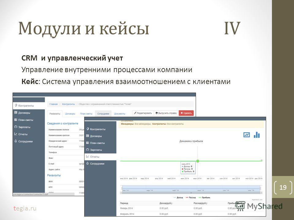 Модули и кейсыIV CRM и управленческий учет Управление внутренними процессами компании Кейс: Система управления взаимоотношением с клиентами 19 tegia.ru