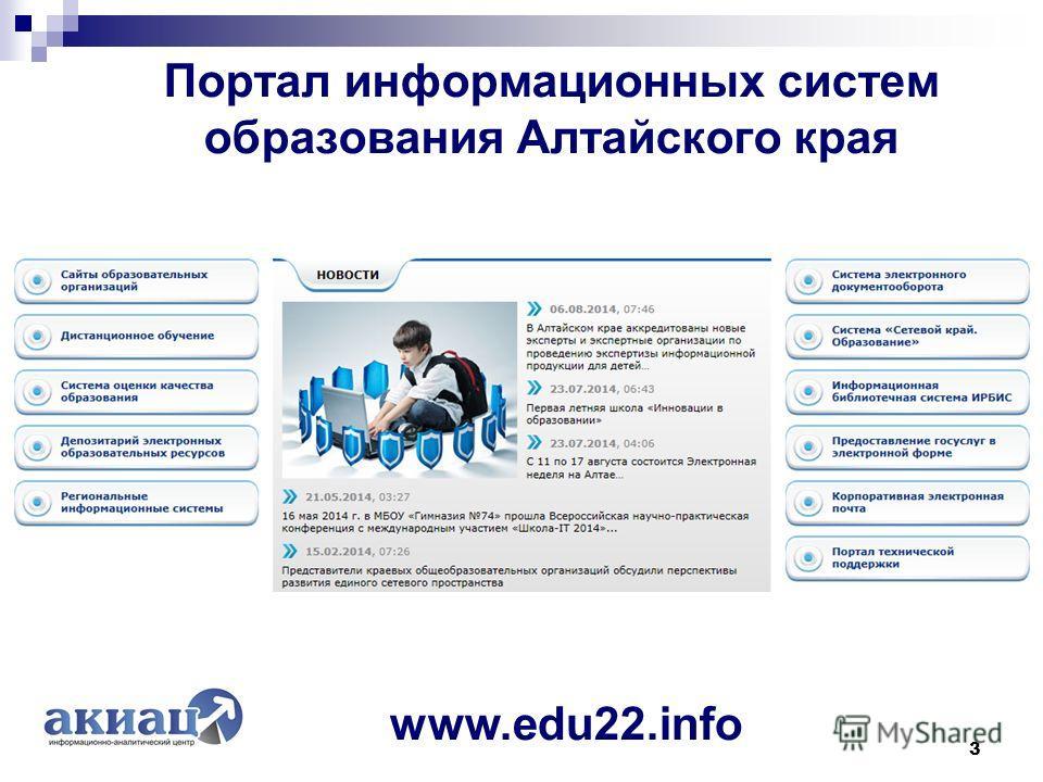 Портал информационных систем образования Алтайского края 3 www.edu22.info