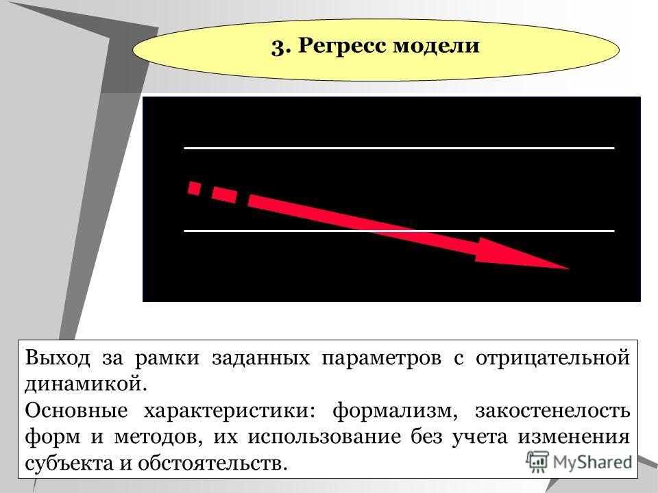 3. Регресс модели Выход за рамки заданных параметров с отрицательной динамикой. Основные характеристики: формализм, закостенелость форм и методов, их использование без учета изменения субъекта и обстоятельств.