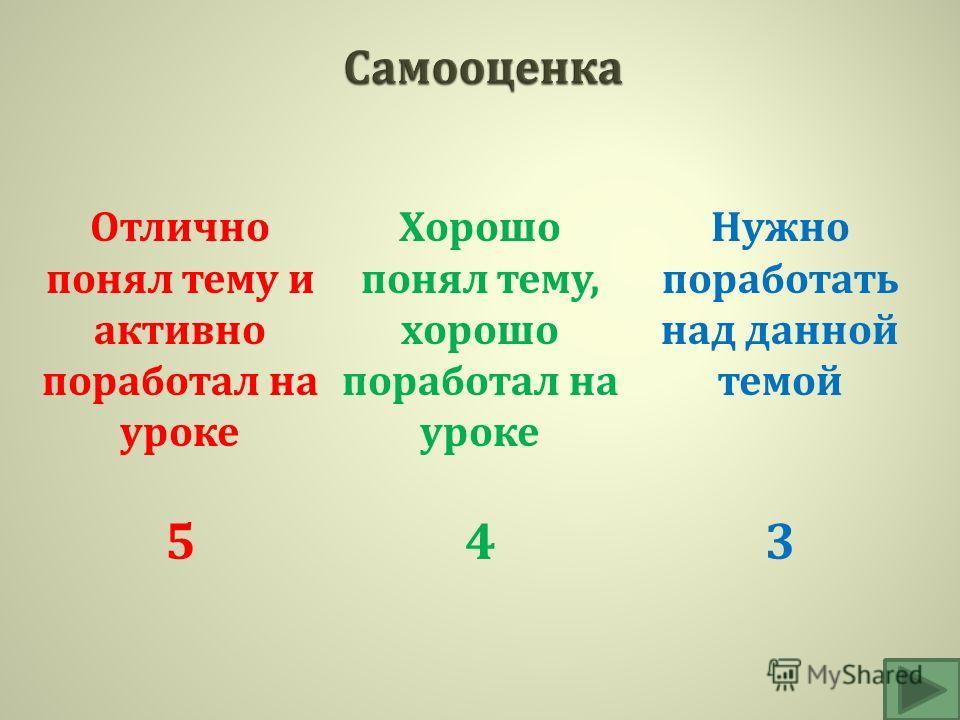 Отлично понял тему и активно поработал на уроке 5 Хорошо понял тему, хорошо поработал на уроке 4 Нужно поработать над данной темой 3