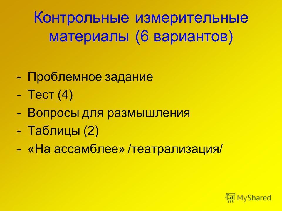 Контрольные измерительные материалы (6 вариантов) -Проблемное задание -Тест (4) -Вопросы для размышления -Таблицы (2) -«На ассамблее» /театрализация/