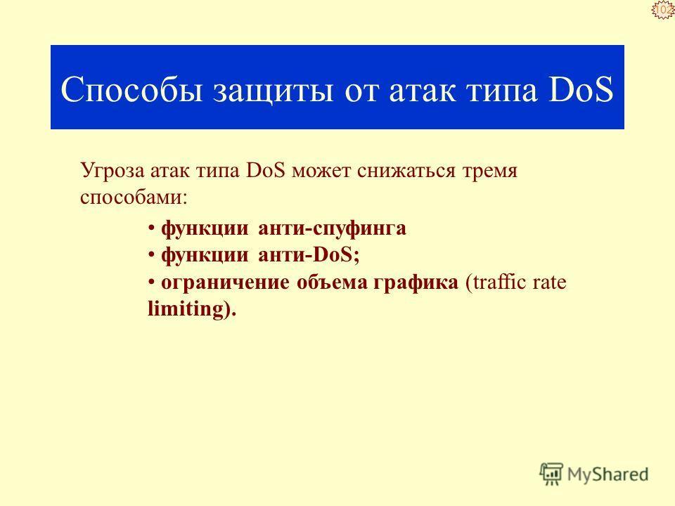 101 Атаки DoS не нацелены на получение доступа к вашей сети или на получение из этой сети какой-либо информации. Атака DoS делает вашу сеть недоступной для обычного использования за счет превышения допустимых пределов функционирования сети, операцион