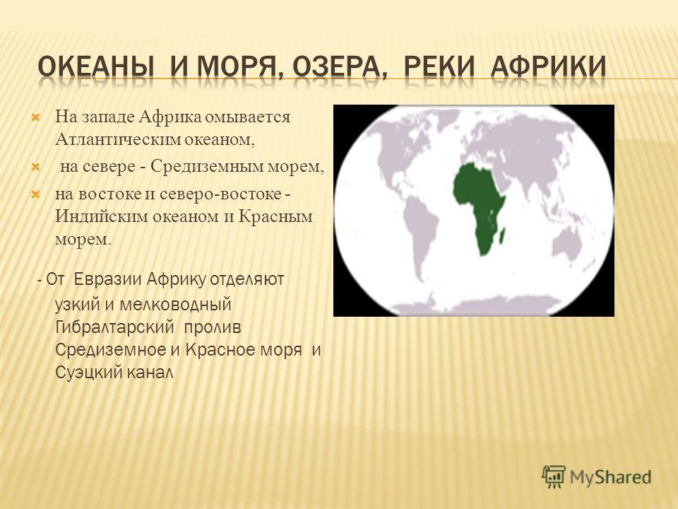 На западе Африка омывается Атлантическим океаном, на севере - Средиземным морем, на востоке и северо-востоке - Индийским океаном и Красным морем. - От Евразии Африку отделяют узкий и мелководный Гибралтарский пролив Средиземное и Красное моря и Суэцк