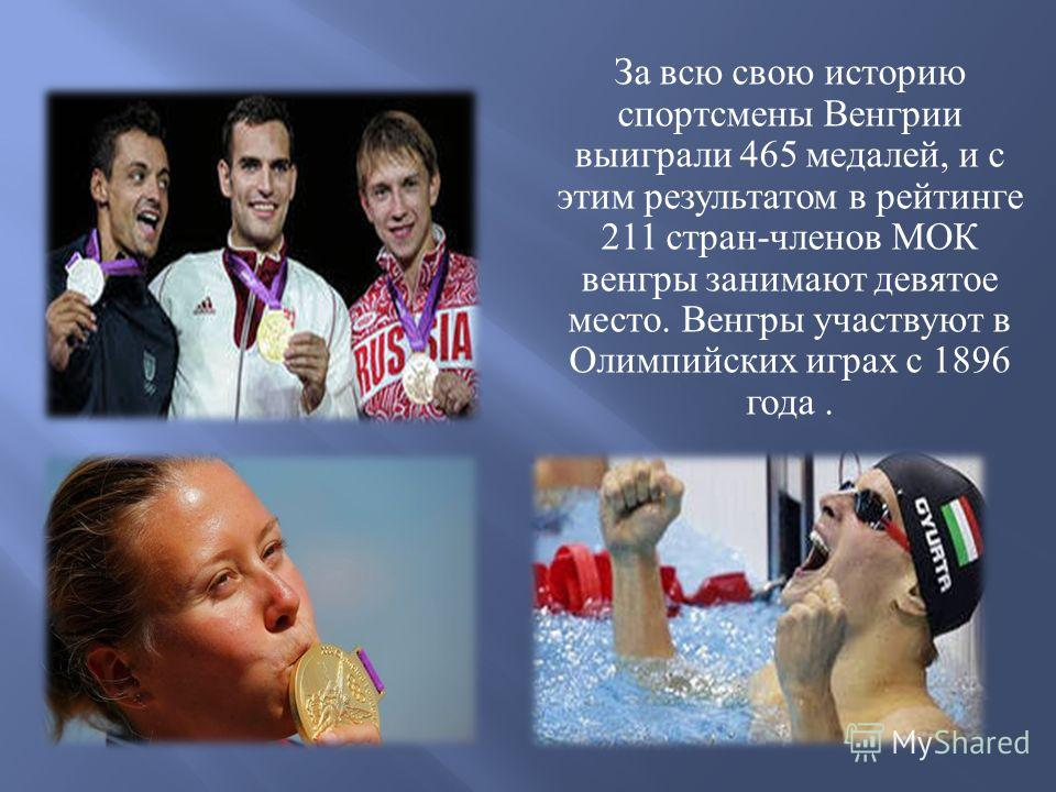 За всю свою историю спортсмены Венгрии выиграли 465 медалей, и с этим результатом в рейтинге 211 стран - членов МОК венгры занимают девятое место. Венгры участвуют в Олимпийских играх с 1896 года.
