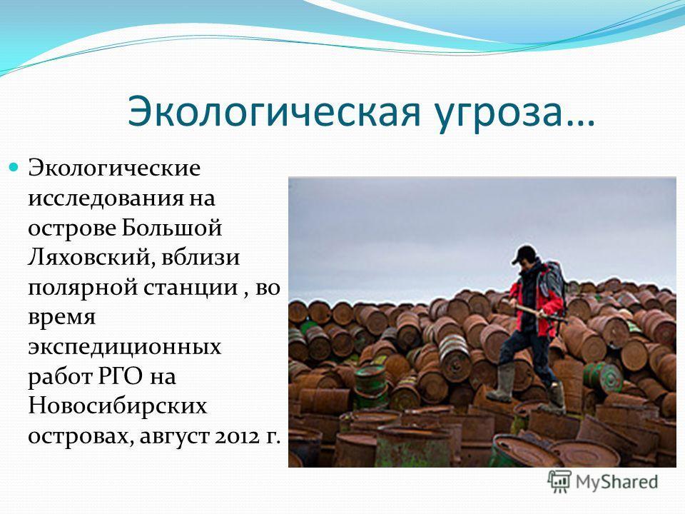 Экологическая угроза… Экологические исследования на острове Большой Ляховский, вблизи полярной станции, во время экспедиционных работ РГО на Новосибирских островах, август 2012 г.