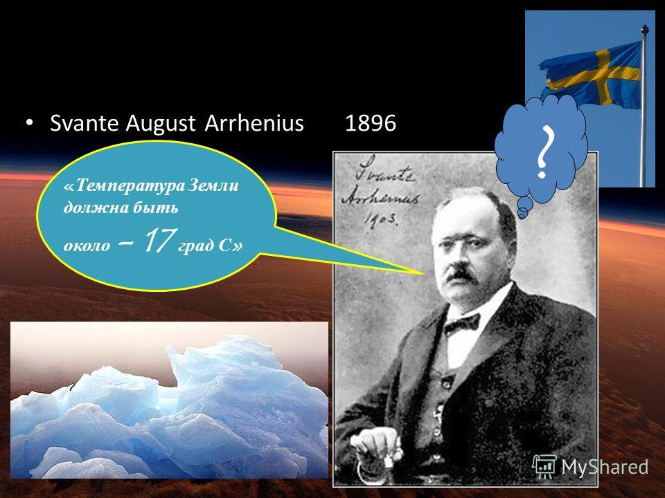 Earths energy balance Svante August Arrhenius in 1896 «Температура Земли должна быть около - 17 град С» ?