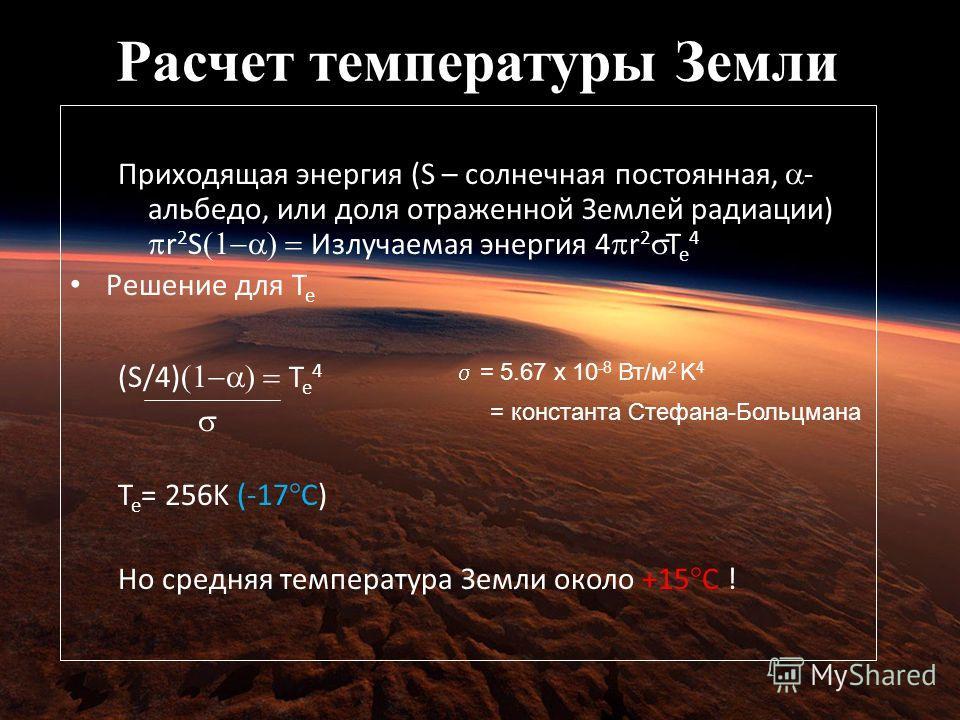 Расчет температуры Земли Body Set incoming = outgoing Приходящая энергия (S – солнечная постоянная, - альбедо, или доля отраженной Землей радиации) r 2 S Излучаемая энергия 4 r 2 T e 4 Решение для T e (S/4) T e 4 T e = 256K (-17°C) Но средняя темпера