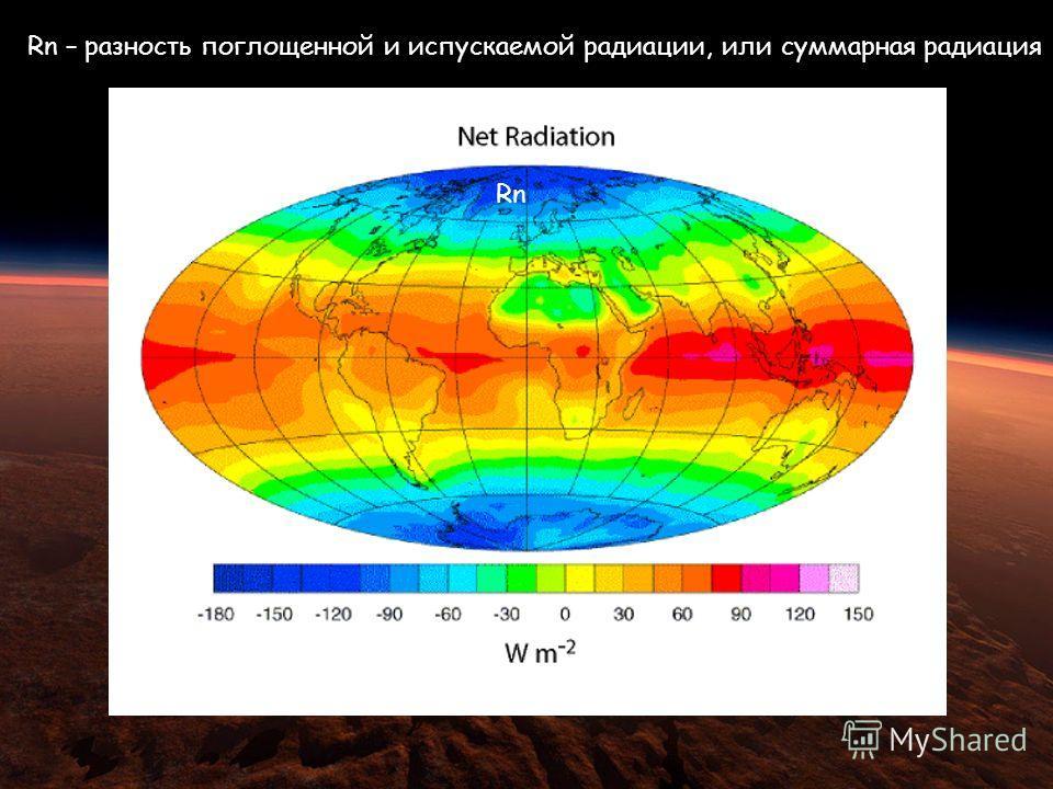Rn – разность поглощенной и испускаемой радиации, или суммарная радиация Rn