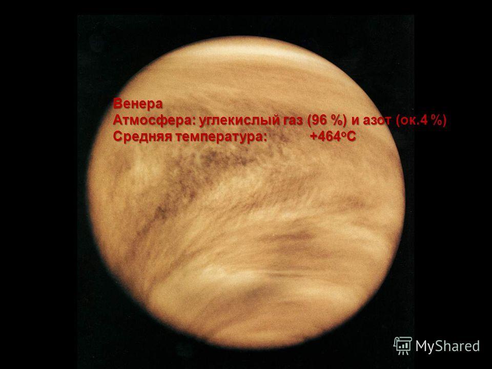 Венера Атмосфера: углекислый газ (96 %) и азот (ок.4 %) Средняя температура: +464 o C