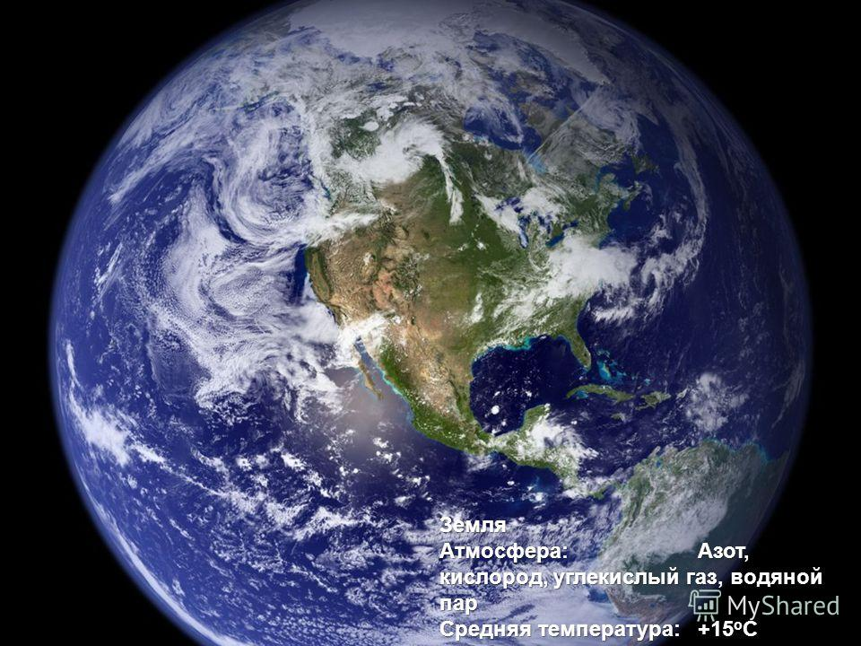 Земля Атмосфера: Азот, кислород, углекислый газ, водяной пар Средняя температура: +15 o C