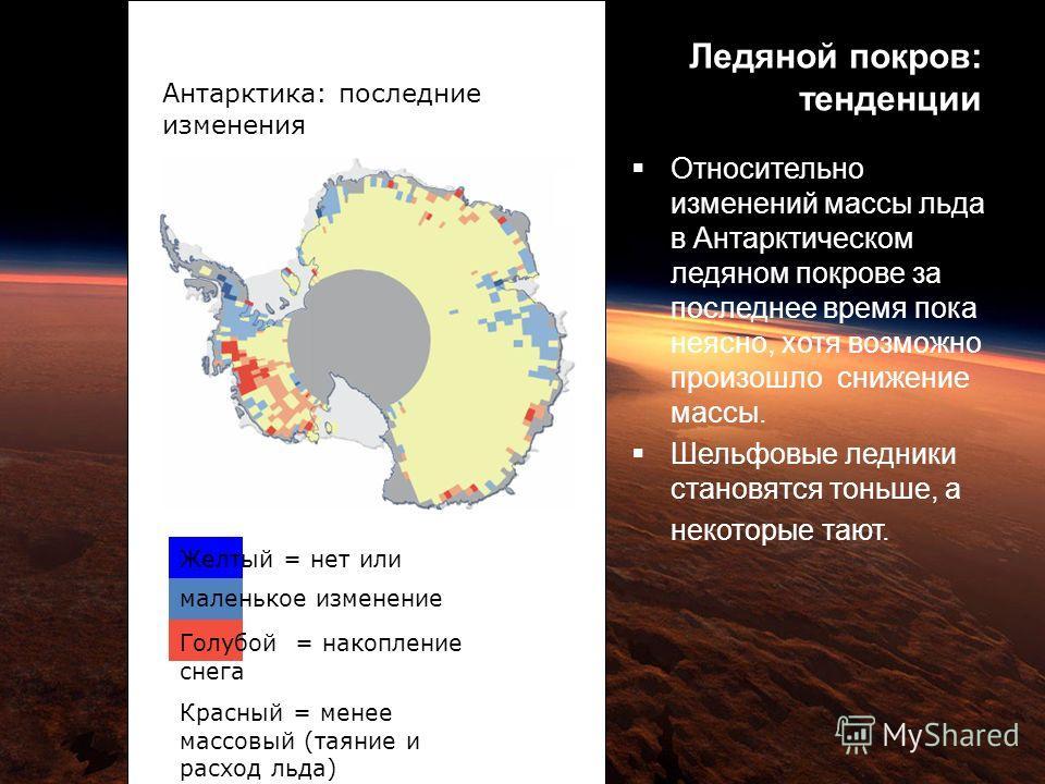Ледяной покров: тенденции Антарктика: последние изменения Желтый = нет или маленькое изменение Голубой = накопление снега Красный = менее массовый (таяние и расход льда) Относительно изменений массы льда в Антарктическом ледяном покрове за последнее