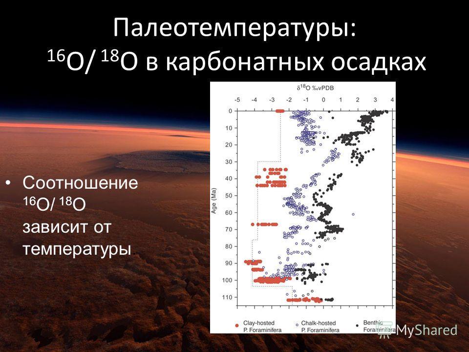 Палеотемпературы: 16 O/ 18 O в карбонатных осадках Соотношение 16 O/ 18 O зависит от температуры.