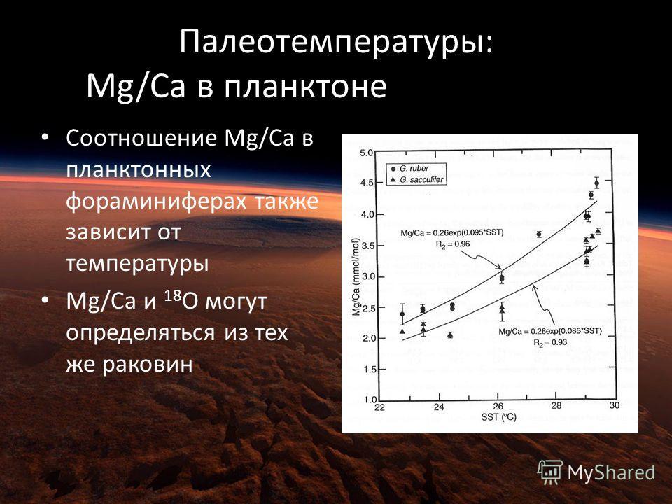 Палеотемпературы: Mg/Ca в планктоне Foraminifera Соотношение Mg/Ca в планктонных фораминиферах также зависит от температуры Mg/Ca и 18 O могут определяться из тех же раковин