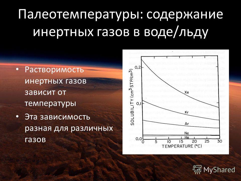 Палеотемпературы: содержание инертных газов в воде/льду Растворимость инертных газов зависит от температуры Эта зависимость разная для различных газов