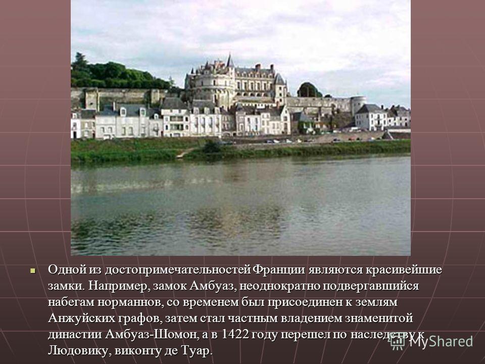 Одной из достопримечательностей Франции являются красивейшие замки. Например, замок Амбуаз, неоднократно подвергавшийся набегам норманнов, со временем был присоединен к землям Анжуйских графов, затем стал частным владением знаменитой династии Амбуаз-