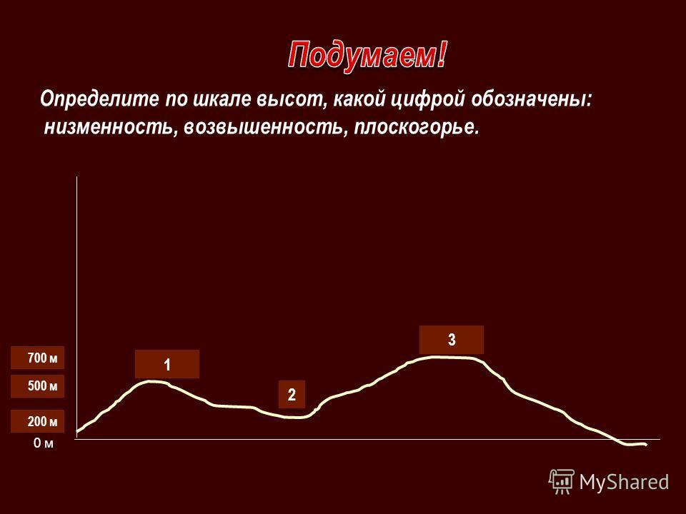 1 2 3 500 м 200 м 0 м 700 м Определите по шкале высот, какой цифрой обозначены: низменность, возвышенность, плоскогорье.