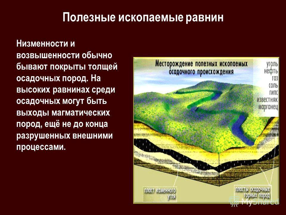 Полезные ископаемые равнин Низменности и возвышенности обычно бывают покрыты толщей осадочных пород. На высоких равнинах среди осадочных могут быть выходы магматических пород, ещё не до конца разрушенных внешними процессами.