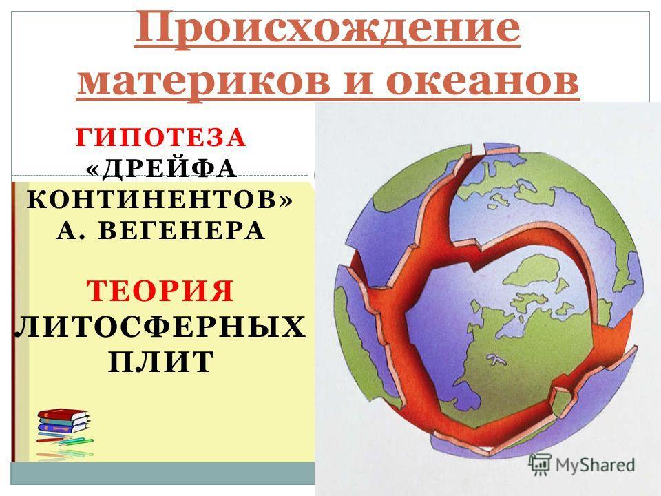 ГИПОТЕЗА «ДРЕЙФА КОНТИНЕНТОВ» А. ВЕГЕНЕРА ТЕОРИЯ ЛИТОСФЕРНЫХ ПЛИТ Происхождение материков и океанов