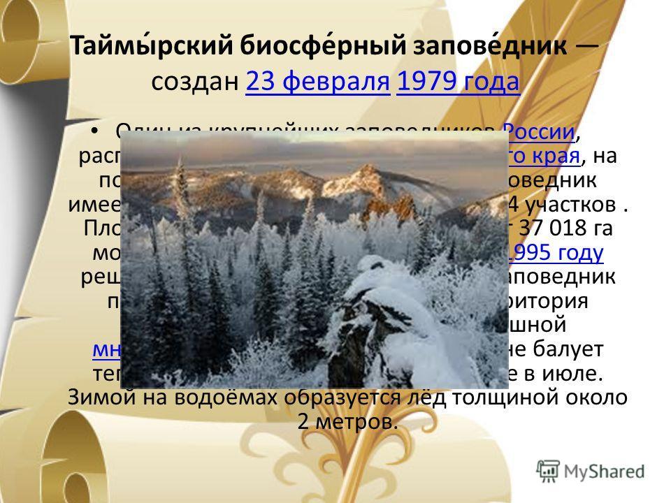 Таймы́рский биосфе́рный запове́дник создан 23 февраля 1979 года 23 февраля 1979 года Один из крупнейших заповедников России, расположенный на севере Красноярского края, на полуострове Таймыр. Таймырский заповедник имеет кластерный характер и состоит