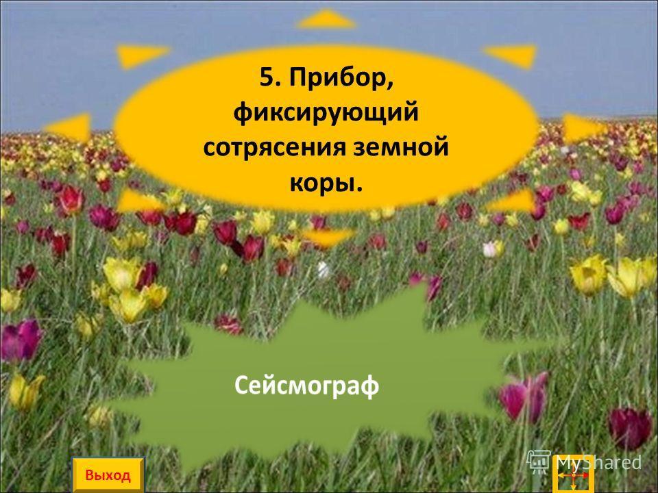 5. Прибор, фиксирующий сотрясения земной коры. Выход