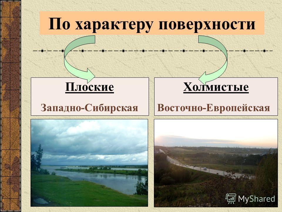 По характеру поверхности Плоские Западно-Сибирская Холмистые Восточно-Европейская