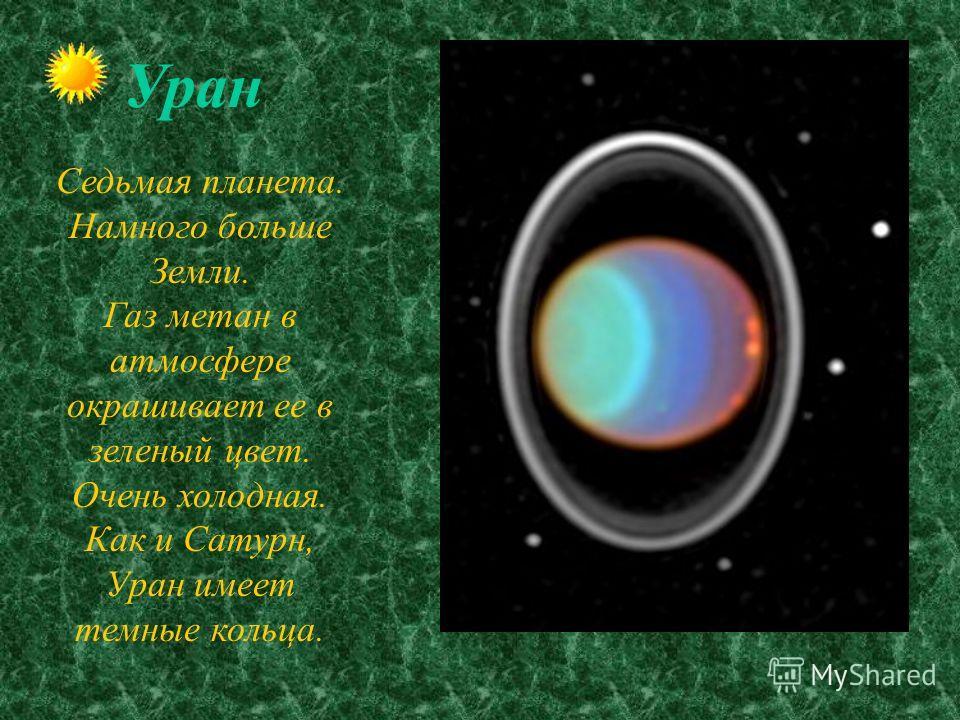 Сатурн Шестая планета от Солнца. Планета-гигант. Имеет твердое ядро,окруженное газом. Удивительная планета :из-за красивых колец, которыми окружена. Открыто 18 спутников.