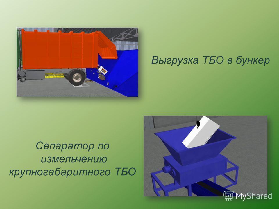 Выгрузка ТБО в бункер Сепаратор по измельчению крупногабаритного ТБО