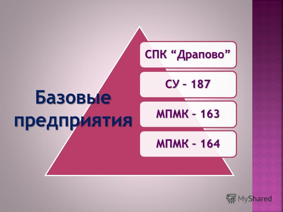 СПК Драпово СУ – 187 МПМК – 163 МПМК – 164 Базовыепредприятия
