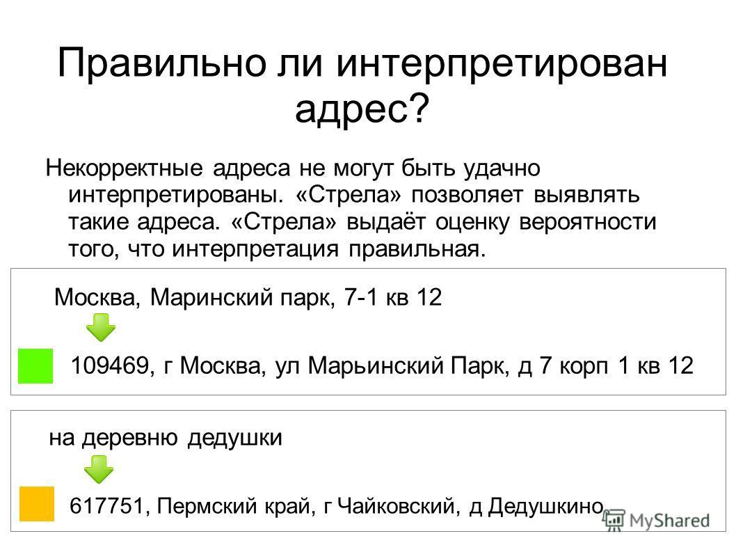 Правильно ли интерпретирован адрес? Некорректные адреса не могут быть удачно интерпретированы. «Стрела» позволяет выявлять такие адреса. «Стрела» выдаёт оценку вероятности того, что интерпретация правильная. Москва, Маринский парк, 7-1 кв 12 109469,