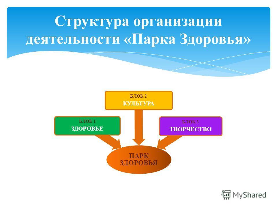 Структура организации деятельности «Парка Здоровья» ПАРК ЗДОРОВЬЯ БЛОК 1 ЗДОРОВЬЕ БЛОК 2 КУЛЬТУРА БЛОК 3 ТВОРЧЕСТВО