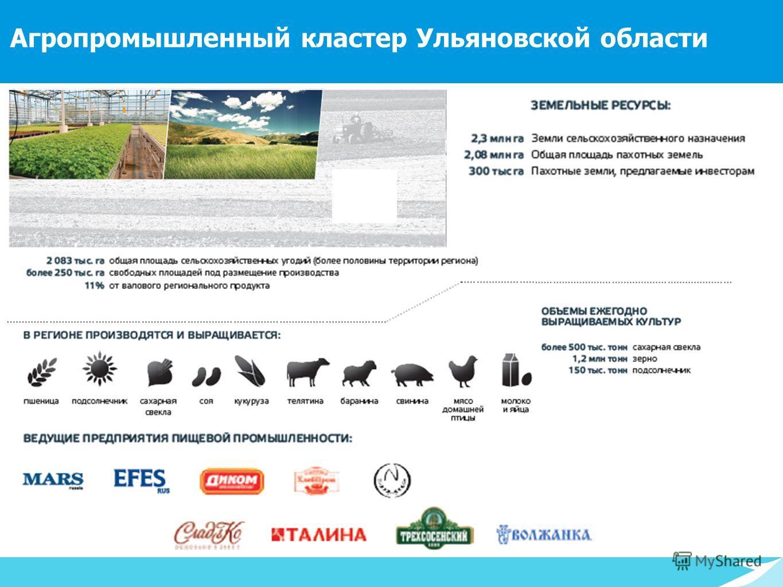193 тыс. > 50% > 44 млн. в радиусе 1 000 км Агропромышленный кластер Ульяновской области