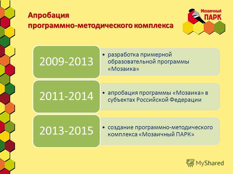 Апробация программно-методического комплекса разработка примерной образовательной программы «Мозаика» 2009-2013 апробация программы «Мозаика» в субъектах Российской Федерации 2011-2014 создание программно-методического комплекса «Мозаичный ПАРК» 2013