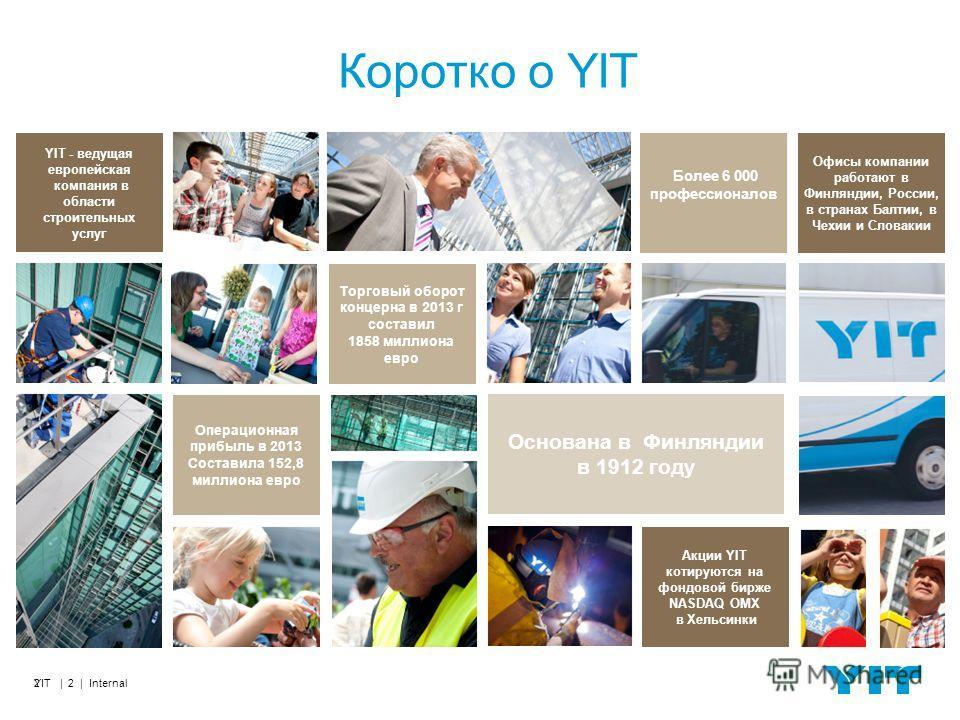 YIT | 2 | Internal2 Коротко о YIT Торговый оборот концерна в 2013 г составил 1858 миллиона евро Более 6 000 профессионалов Офисы компании работают в Финляндии, России, в странах Балтии, в Чехии и Словакии Основана в Финляндии в 1912 году Акции YIT ко