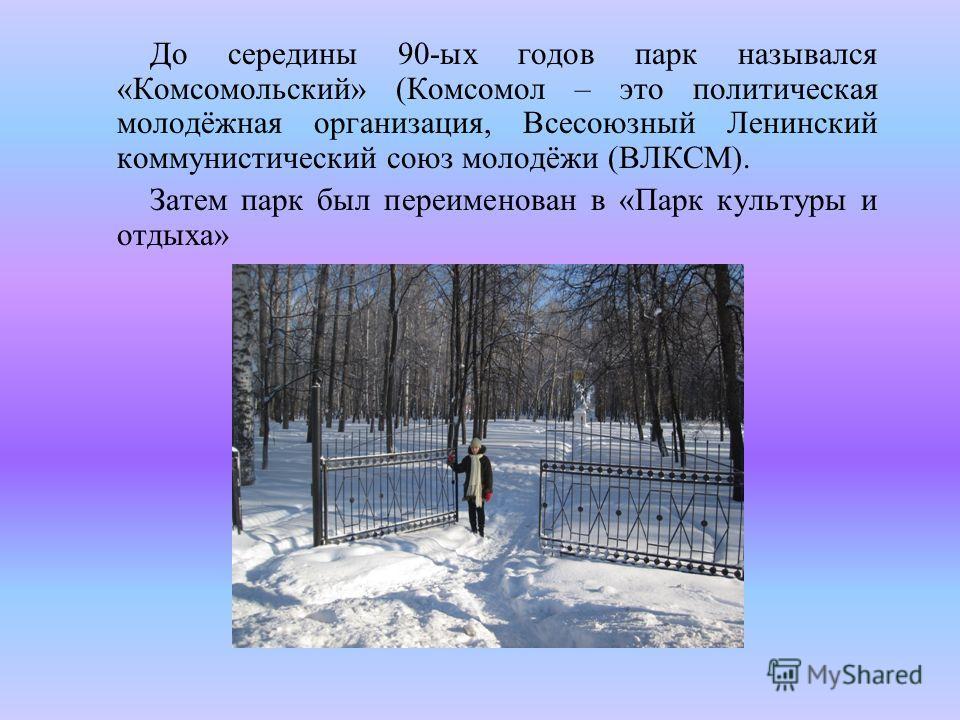 До середины 90-ых годов парк назывался «Комсомольский» (Комсомол – это политическая молодёжная организация, Всесоюзный Ленинский коммунистический союз молодёжи (ВЛКСМ). Затем парк был переименован в «Парк культуры и отдыха»