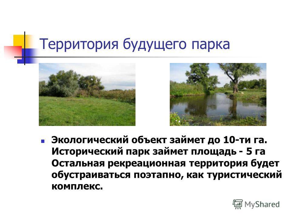 Территория будущего парка Экологический объект займет до 10-ти га. Исторический парк займет площадь - 5 га Остальная рекреационная территория будет обустраиваться поэтапно, как туристический комплекс.