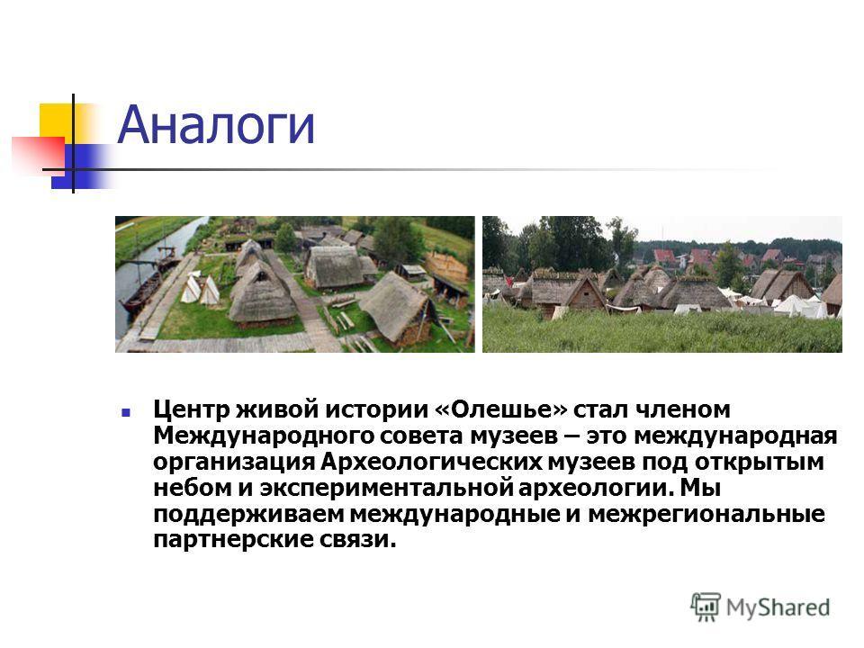 Аналоги Центр живой истории «Олешье» стал членом Международного совета музеев – это международная организация Археологических музеев под открытым небом и экспериментальной археологии. Мы поддерживаем международные и межрегиональные партнерские связи.