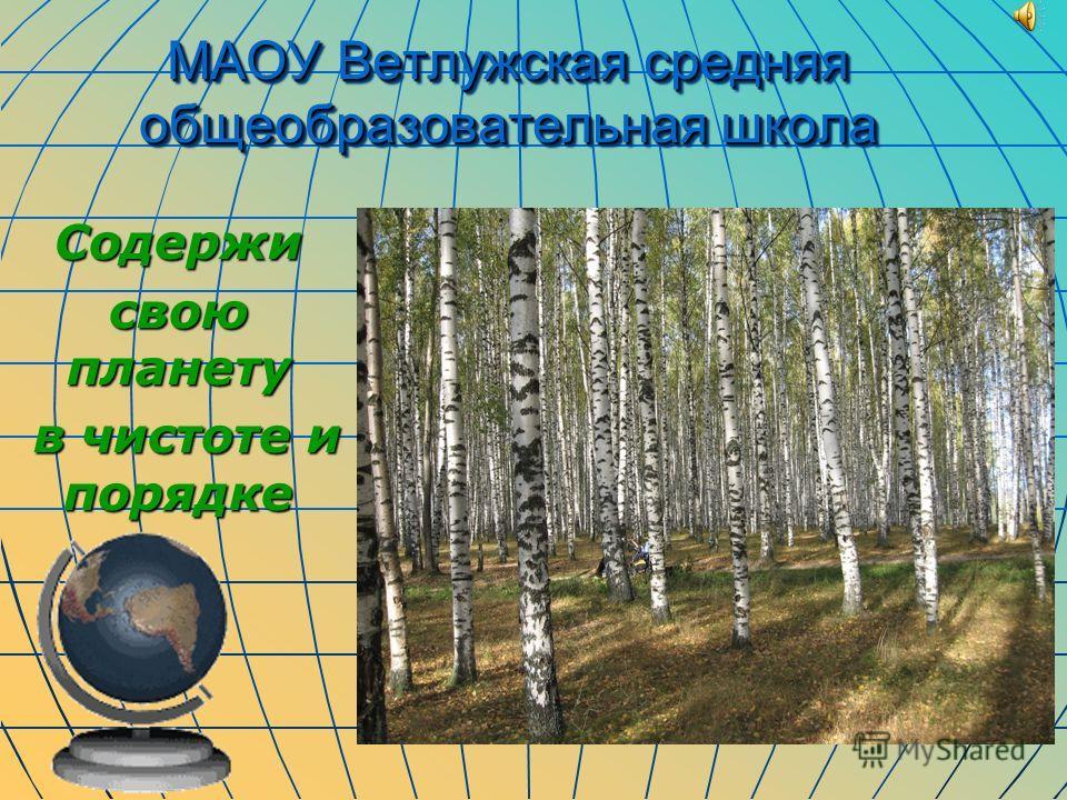 МАОУ Ветлужская средняя общеобразовательная школа Содержи свою планету в чистоте и порядке в чистоте и порядке