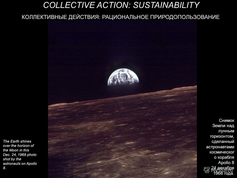КОЛЛЕКТИВНЫЕ ДЕЙСТВИЯ: РАЦИОНАЛЬНОЕ ПРИРОДОПОЛЬЗОВАНИЕ COLLECTIVE ACTION: SUSTAINABILITY The Earth shines over the horizon of the Moon in this Dec. 24, 1968 photo shot by the astronauts on Apollo 8. Снимок Земли над лунным горизонтом, сделанный астро