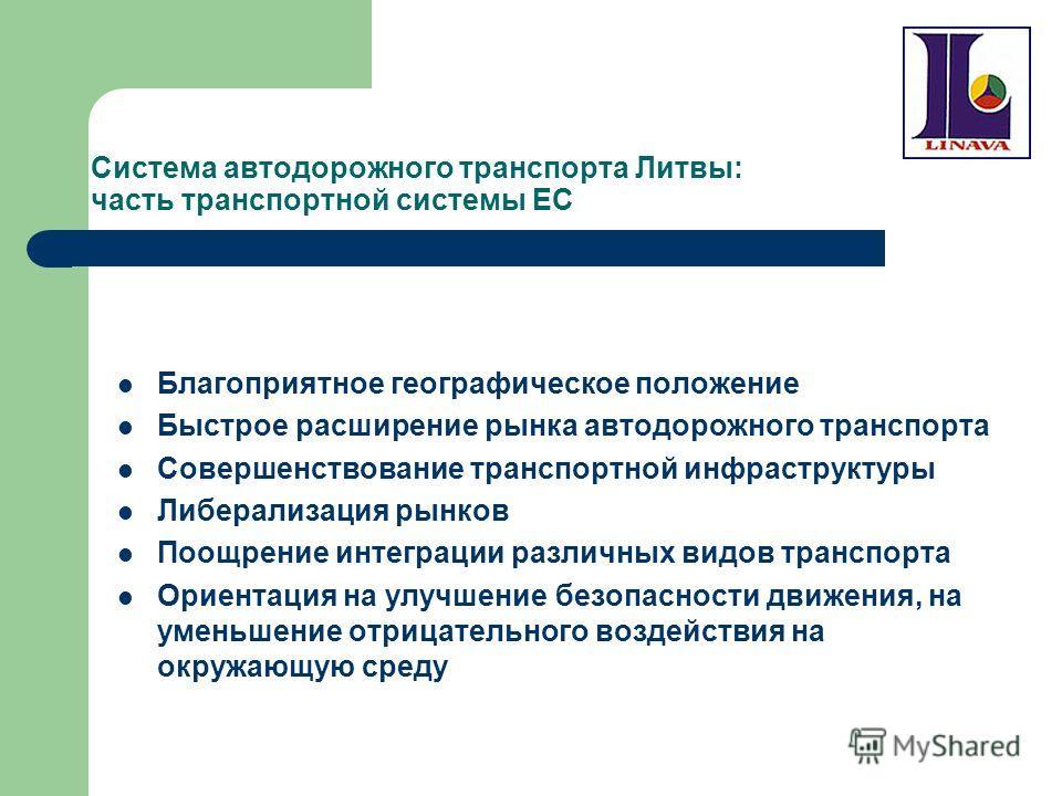 Система автодорожного транспорта Литвы: часть транспортной системы ЕС Благоприятное географическое положение Быстрое расширение рынка автодорожного транспорта Совершенствование транспортной инфраструктуры Либерализация рынков Поощрение интеграции раз