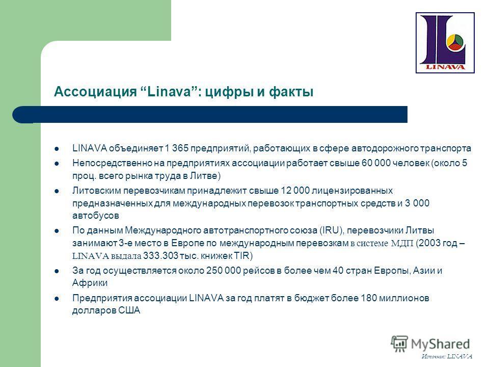 Ассоциация Linava: цифры и факты LINAVA объединяет 1 365 предприятий, работающих в сфере автодорожного транспорта Непосредственно на предприятиях ассоциации работает свыше 60 000 человек (около 5 проц. всего рынка труда в Литве) Литовским перевозчика