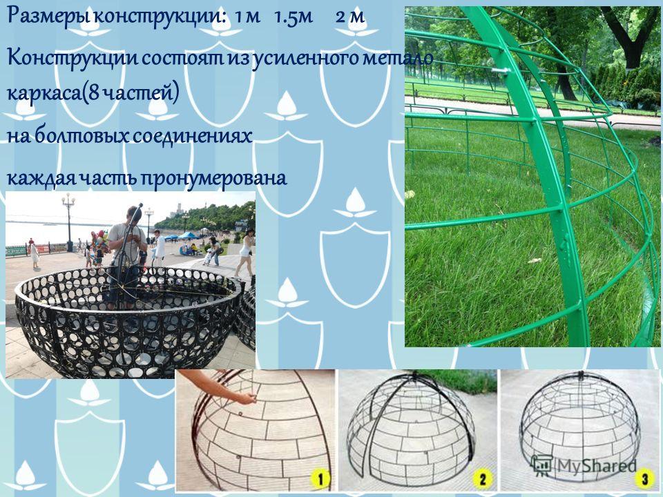 Размеры конструкции: 1 м 1.5 м 2 м Конструкции состоят из усиленного метало каркаса(8 частей) на болтовых соединениях каждая часть пронумерована