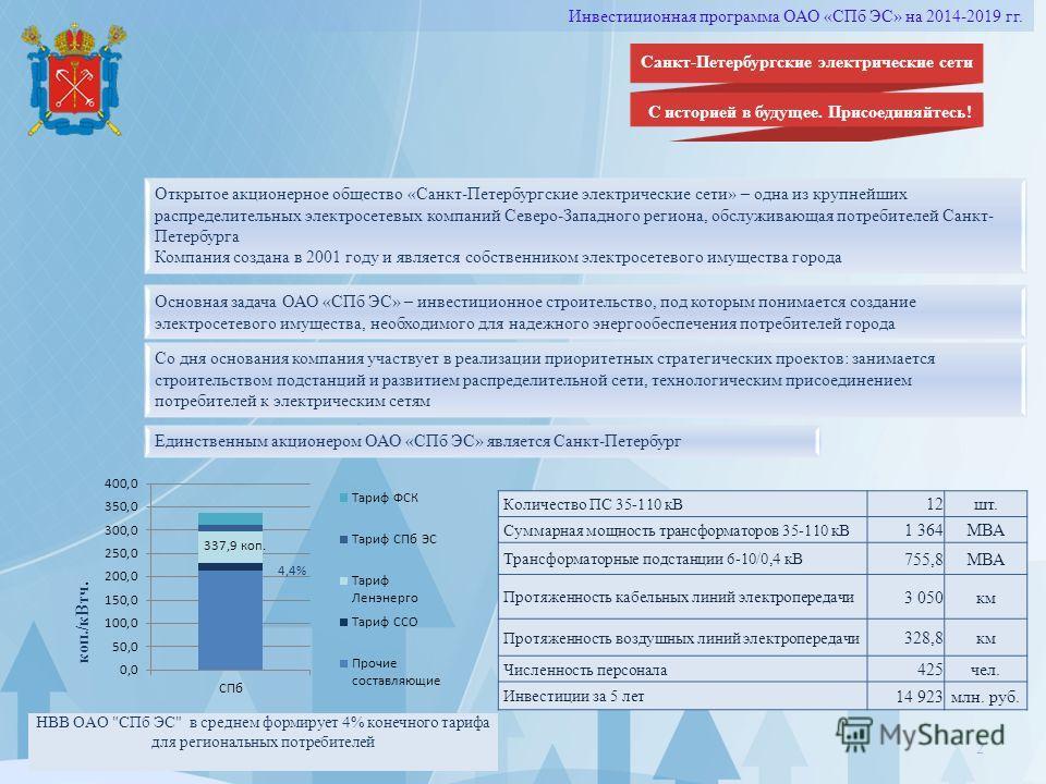 2 Открытое акционерное общество «Санкт-Петербургские электрические сети» – одна из крупнейших распределительных электросетевых компаний Северо-Западного региона, обслуживающая потребителей Санкт- Петербурга Компания создана в 2001 году и является соб