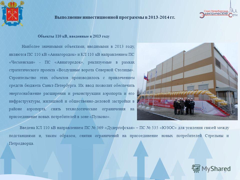 4 Объекты 110 кВ, введенные в 2013 году Наиболее значимыми объектами, вводимыми в 2013 году, являются ПС 110 кВ «Авиагородок» и КЛ 110 кВ направлением ПС «Чесменская» - ПС «Авиагородок», реализуемые в рамках стратегического проекта «Воздушные ворота