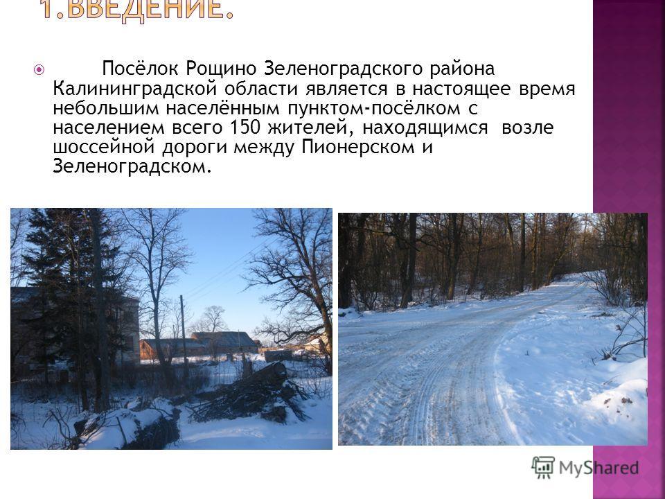 Посёлок Рощино Зеленоградского района Калининградской области является в настоящее время небольшим населённым пунктом-посёлком с населением всего 150 жителей, находящимся возле шоссейной дороги между Пионерском и Зеленоградском.