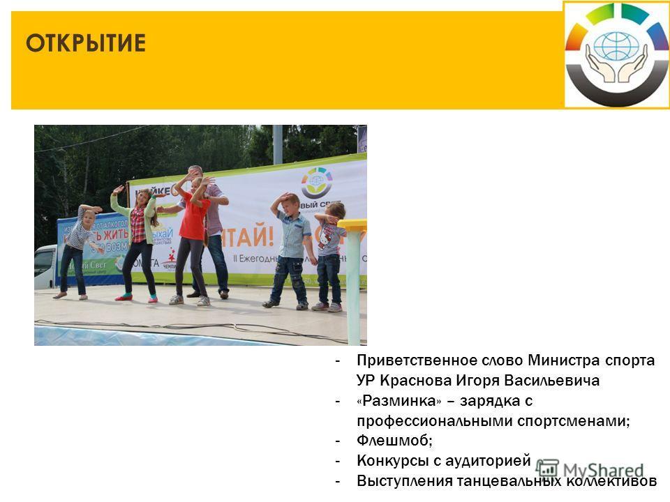 ОТКРЫТИЕ -Приветственное слово Министра спорта УР Краснова Игоря Васильевича -«Разминка» – зарядка с профессиональными спортсменами; -Флешмоб; -Конкурсы с аудиторией -Выступления танцевальных коллективов