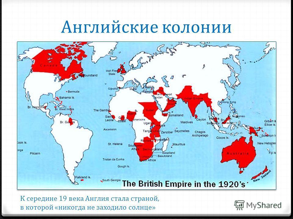 Английские колонии К середине 19 века Англия стала страной, в которой «никогда не заходило солнце»
