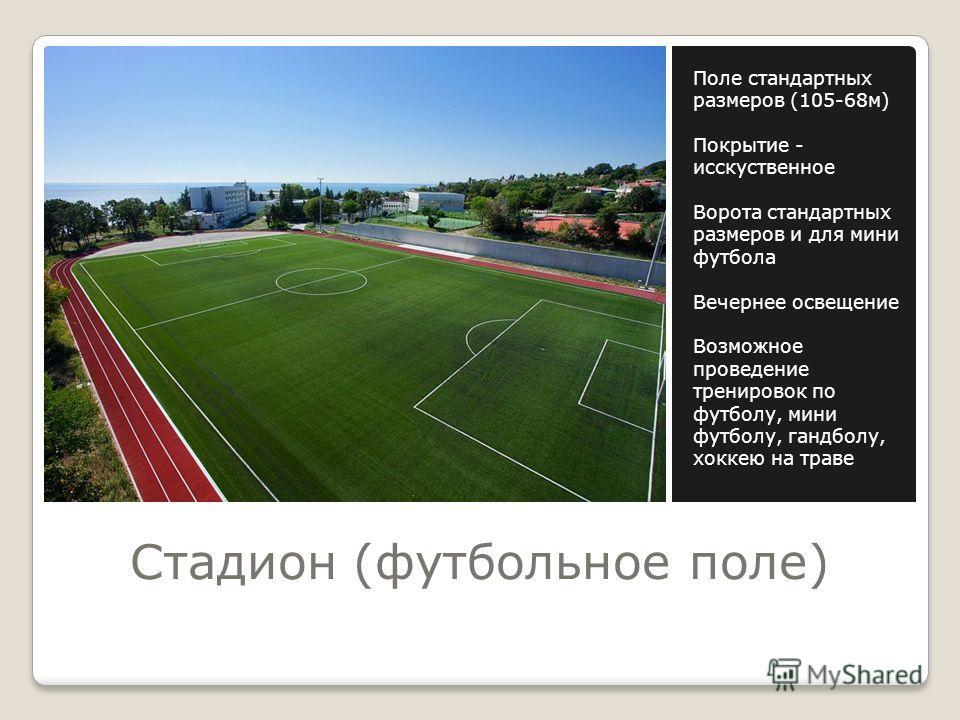 Стадион (футбольное поле) Поле стандартных размеров (105-68 м) Покрытие - исскуственное Ворота стандартных размеров и для мини футбола Вечернее освещение Возможное проведение тренировок по футболу, мини футболу, гандболу, хоккею на траве