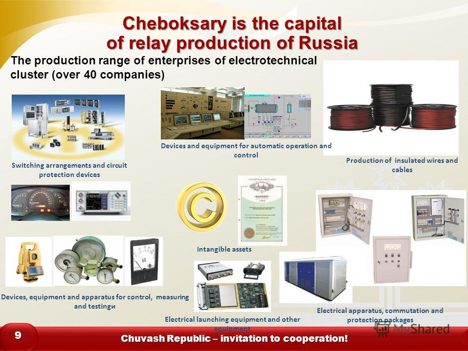 Chuvash Republic – invitation to cooperation! 99 Cheboksary is the capital of relay production of Russia Switching arrangements and circuit protection devices Electrical apparatus, commutation and protection packages Devices, equipment and apparatus