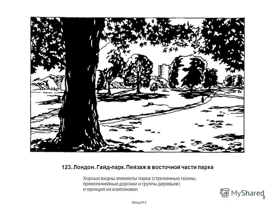 123. Лондон. Гайд-парк. Пейзаж в восточной части парка Хорошо видны элементы парка (стриженные газоны, прямолинейные дорожки и группы деревьев) и принцип их компоновки. 8 ЛЕКЦИЯ 8